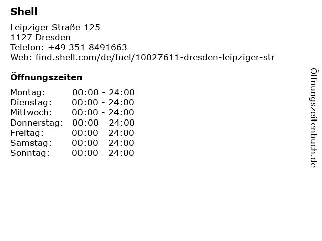 Shell Station in Dresden: Adresse und Öffnungszeiten