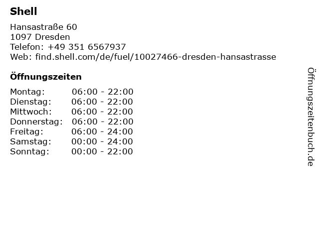 Shell in Dresden: Adresse und Öffnungszeiten