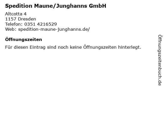 Spedition Maune/Junghanns GmbH in Dresden: Adresse und Öffnungszeiten