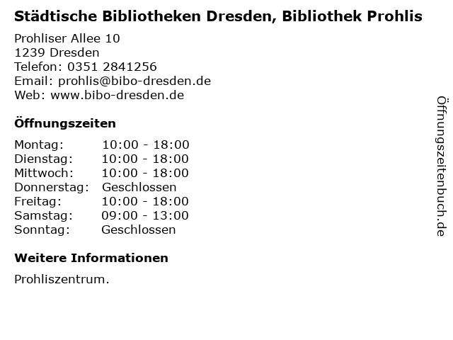 Städtische Bibliotheken Dresden, Bibliothek Prohlis in Dresden: Adresse und Öffnungszeiten