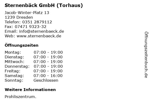 Sternenbäck GmbH (Torhaus) in Dresden: Adresse und Öffnungszeiten