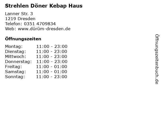 Strehlen Döner Kebap Haus in Dresden: Adresse und Öffnungszeiten