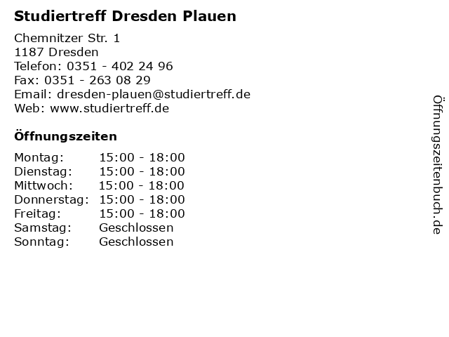 Studiertreff Dresden Plauen in Dresden: Adresse und Öffnungszeiten