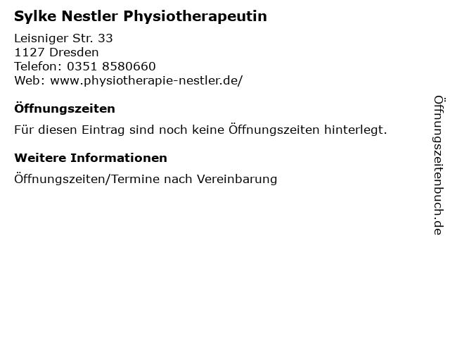 Sylke Nestler Physiotherapeutin in Dresden: Adresse und Öffnungszeiten