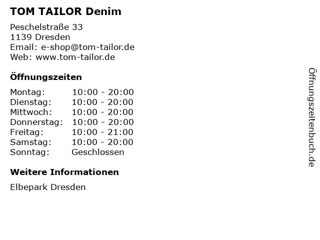 TOM TAILOR Denim in Dresden: Adresse und Öffnungszeiten