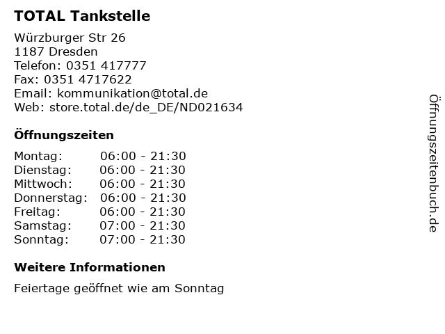 TOTAL Tankstelle in Dresden: Adresse und Öffnungszeiten