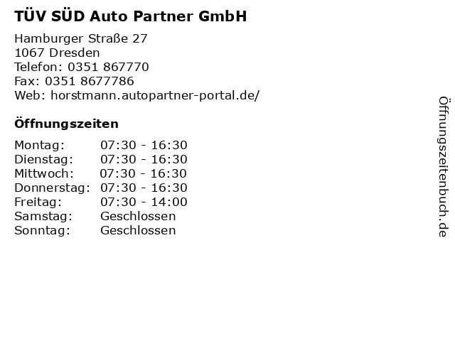 TÜV SÜD Auto Partner GmbH in Dresden: Adresse und Öffnungszeiten