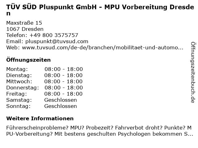TÜV SÜD Pluspunkt GmbH in Dresden: Adresse und Öffnungszeiten