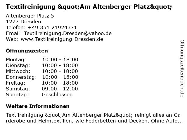 """Textilreinigung """"Am Altenberger Platz"""" in Dresden: Adresse und Öffnungszeiten"""