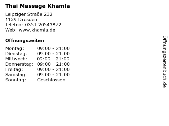 Thai Massage Khamla in Dresden: Adresse und Öffnungszeiten