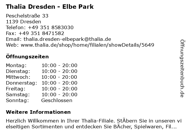 Thalia Dresden - Elbe Park in Dresden: Adresse und Öffnungszeiten