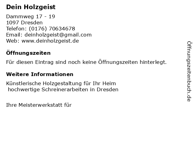 Tischlerei DeinHolzgeist Dana Börner in Dresden: Adresse und Öffnungszeiten