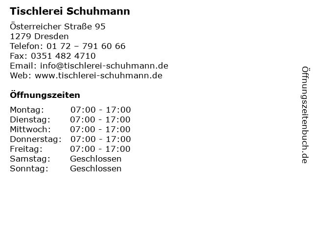 Tischlerei Schuhmann in Dresden: Adresse und Öffnungszeiten