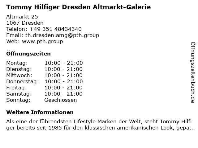 Tommy Hilfiger Dresden Altmarkt-Galerie in Dresden: Adresse und Öffnungszeiten