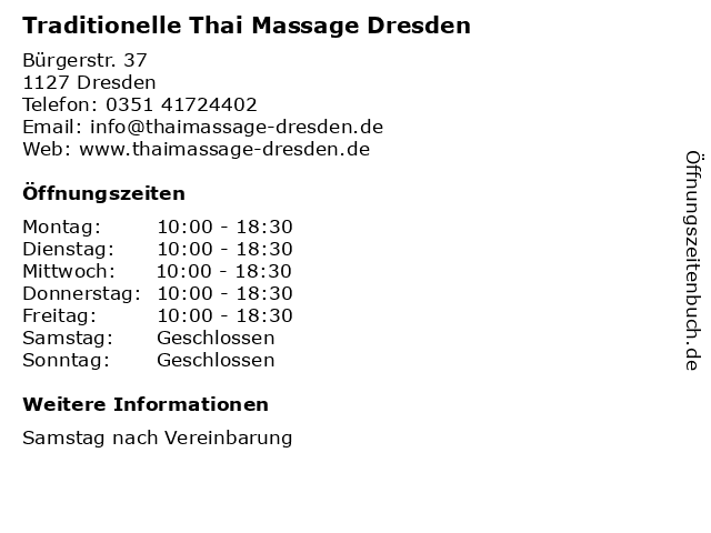 Traditionelle Thai Massage Dresden in Dresden: Adresse und Öffnungszeiten