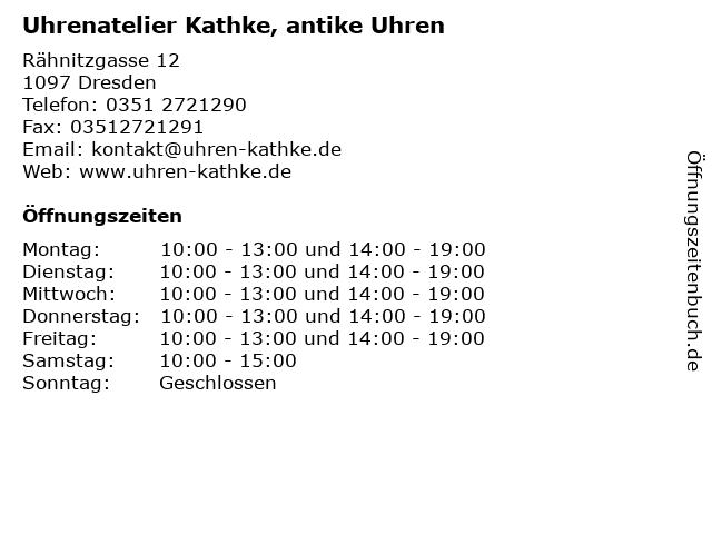 Uhrenatelier Kathke, antike Uhren in Dresden: Adresse und Öffnungszeiten