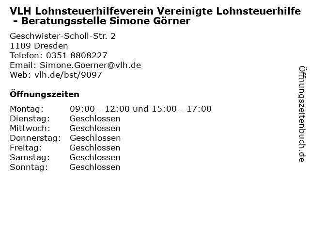 VLH Lohnsteuerhilfeverein Vereinigte Lohnsteuerhilfe - Beratungsstelle Simone Görner in Dresden: Adresse und Öffnungszeiten