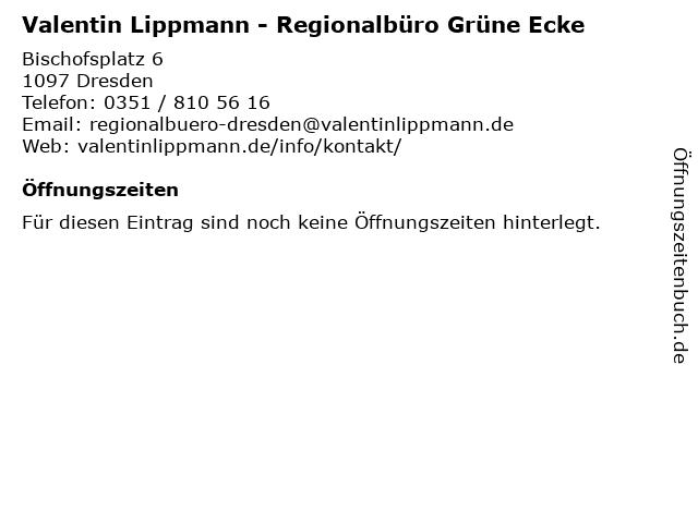 Valentin Lippmann - Regionalbüro Grüne Ecke in Dresden: Adresse und Öffnungszeiten