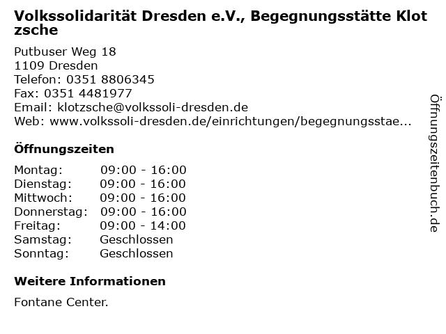 Volkssolidarität Dresden e.V., Begegnungsstätte Klotzsche in Dresden: Adresse und Öffnungszeiten