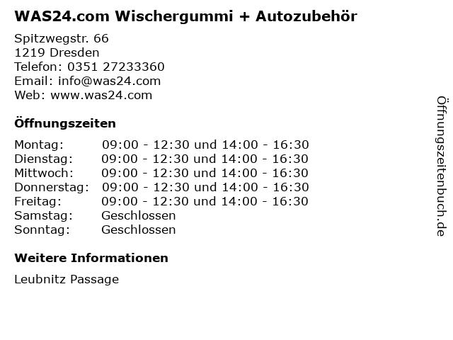 WAS24.com Wischergummi + Autozubehör in Dresden: Adresse und Öffnungszeiten