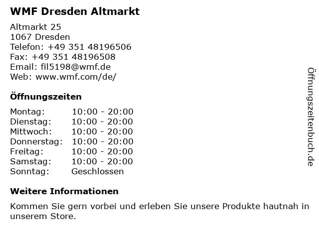 WMF Dresden - Altmarkt-Galerie Dresden in Dresden: Adresse und Öffnungszeiten
