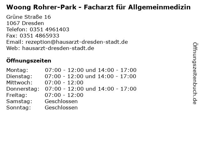 Woong Rohrer-Park - Facharzt für Allgemeinmedizin in Dresden: Adresse und Öffnungszeiten