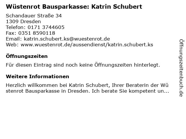 Wüstenrot Bausparkasse: Katrin Schubert in Dresden: Adresse und Öffnungszeiten
