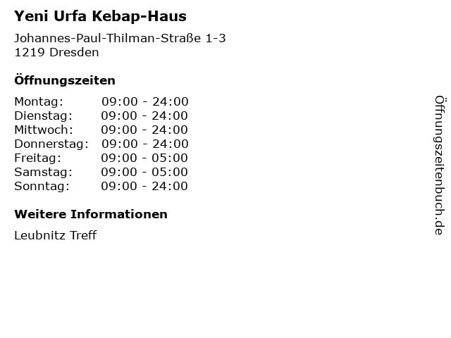 Yeni Urfa Kebap-Haus in Dresden: Adresse und Öffnungszeiten