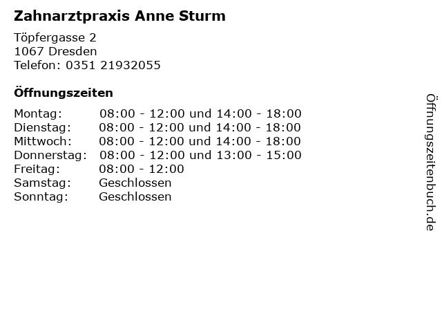 Zahnarztpraxis Anne Sturm in Dresden: Adresse und Öffnungszeiten