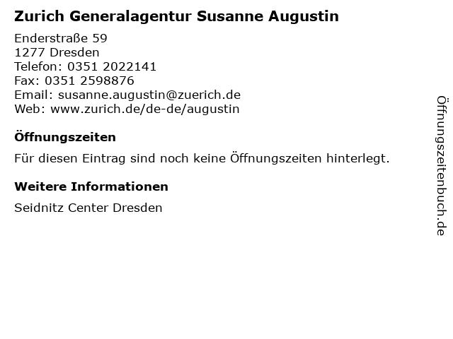 Zurich Generalagentur Susanne Augustin in Dresden: Adresse und Öffnungszeiten