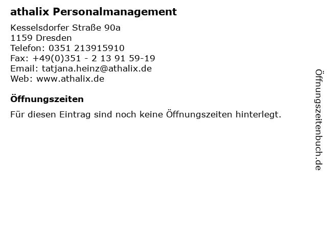 athalix Personalmanagement in Dresden: Adresse und Öffnungszeiten