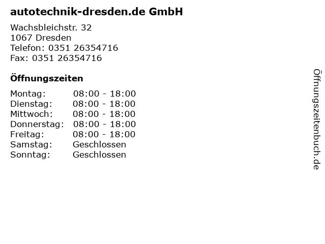 autotechnik-dresden.de GmbH in Dresden: Adresse und Öffnungszeiten
