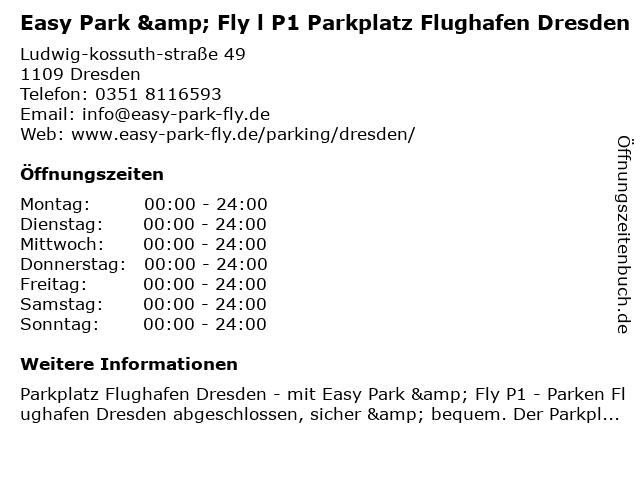easy park & fly, Alexander Krautz in Dresden: Adresse und Öffnungszeiten