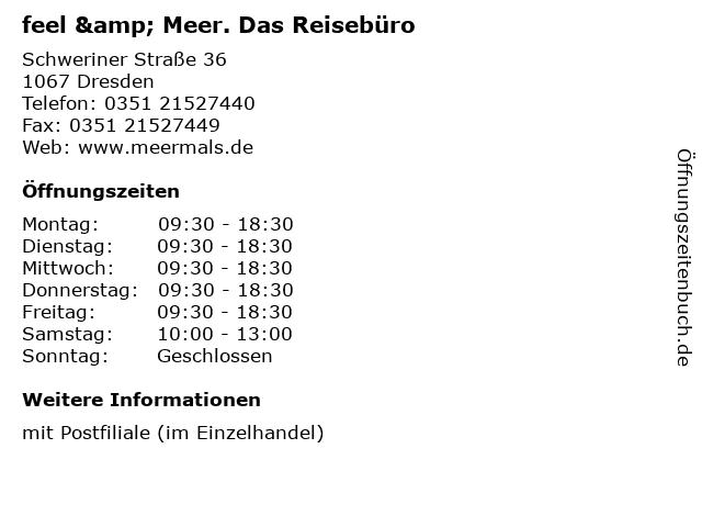 feel & Meer. Das Reisebüro in Dresden: Adresse und Öffnungszeiten