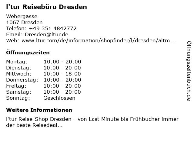 l'tur Reisebüro Dresden in Dresden: Adresse und Öffnungszeiten