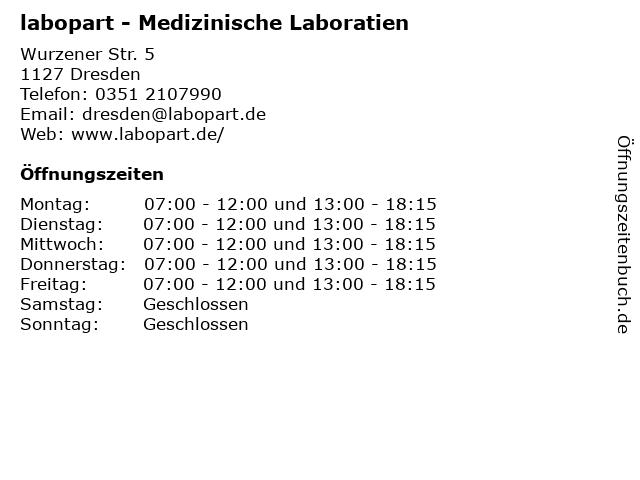 labopart - Medizinische Laboratien in Dresden: Adresse und Öffnungszeiten