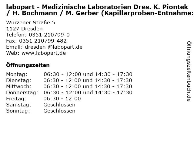 labopart - Medizinische Laboratorien Dres. K. Piontek / H. Bochmann / M. Gerber (Kapillarproben-Entnahme:) in Dresden: Adresse und Öffnungszeiten