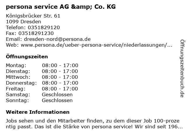 persona service AG & Co. KG in Dresden: Adresse und Öffnungszeiten