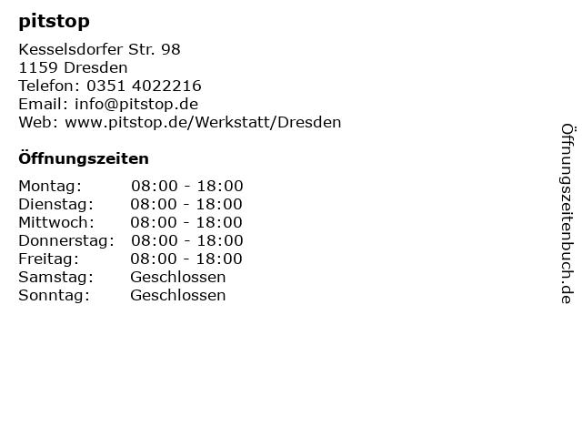 pitstop.de GmbH in Dresden: Adresse und Öffnungszeiten