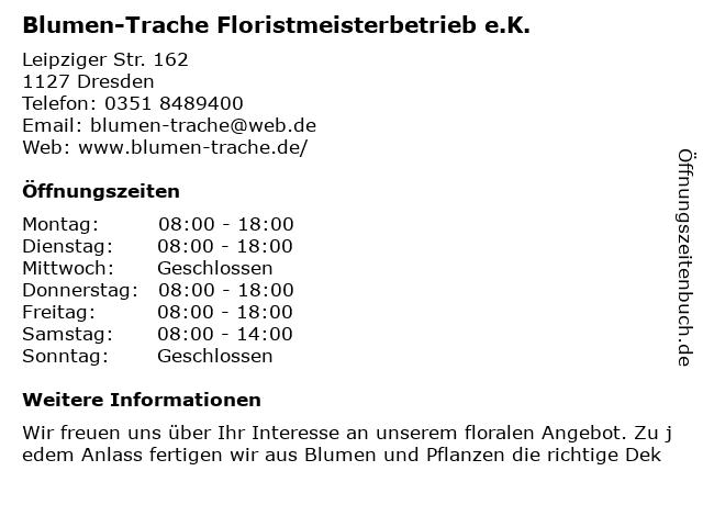 Blumen-Trache Floristmeisterbetrieb e.K. in Dresden: Adresse und Öffnungszeiten