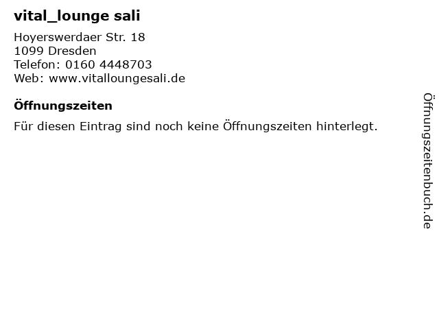 vital_lounge sali in Dresden: Adresse und Öffnungszeiten