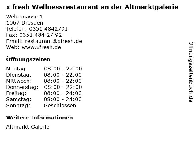 x fresh Wellnessrestaurant an der Altmarktgalerie in Dresden: Adresse und Öffnungszeiten