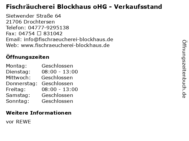 Fischräucherei Blockhaus oHG - Verkaufsstand in Drochtersen: Adresse und Öffnungszeiten