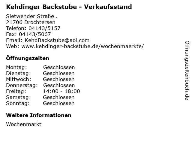 Kehdinger Backstube - Verkaufsstand in Drochtersen: Adresse und Öffnungszeiten