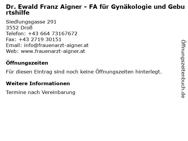 """50% price buying now detailed pictures ᐅ Öffnungszeiten """"Dr. Ewald Franz Aigner - FA für ..."""