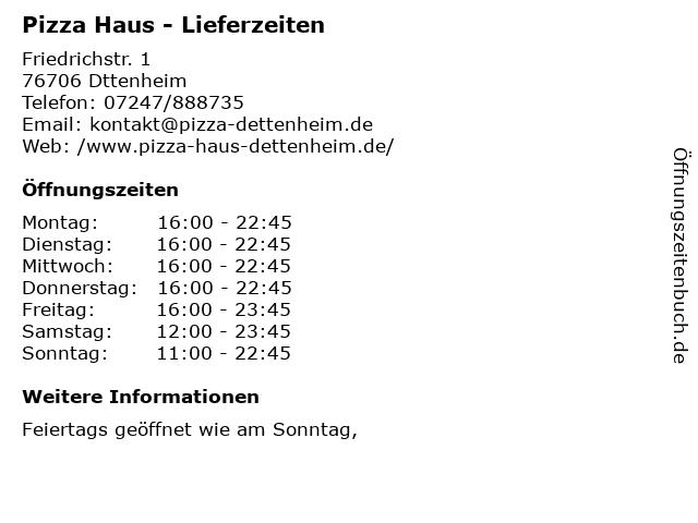 Pizza Haus - Lieferzeiten in Dttenheim: Adresse und Öffnungszeiten