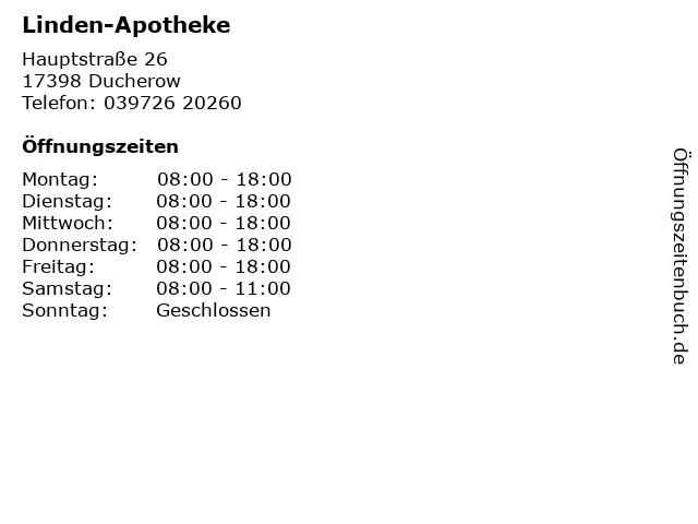 Linden-Apotheke in Ducherow: Adresse und Öffnungszeiten