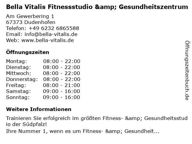 Bella Vitalis Fitnessstudio & Gesundheitszentrum in Dudenhofen: Adresse und Öffnungszeiten