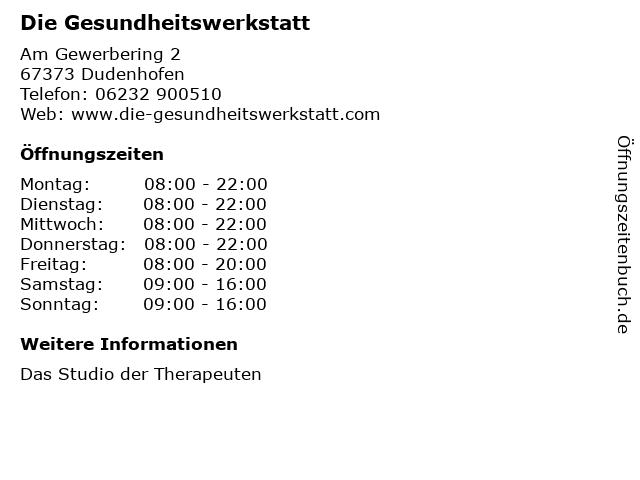 Die Gesundheitswerkstatt in Dudenhofen: Adresse und Öffnungszeiten
