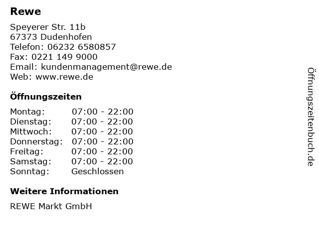 Rewe in Dudenhofen: Adresse und Öffnungszeiten